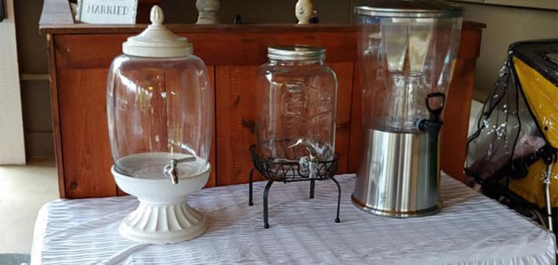 Basic Plastic, Mason Jar, and Glass with White Pillar Decanters
