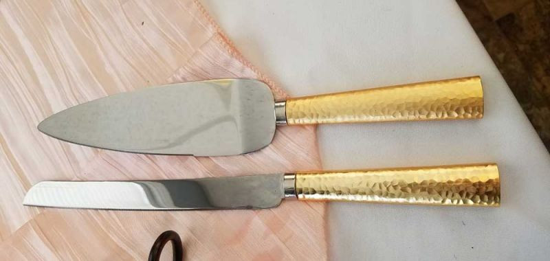 Gold with Silver Cake Cutter & Server
