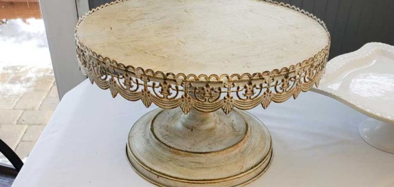 Vintage Metal and Ivory Medium Cake Platter