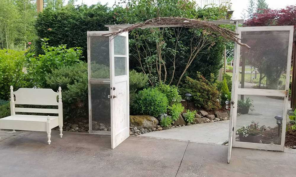 Door Arbor with Curly Willow and Bench