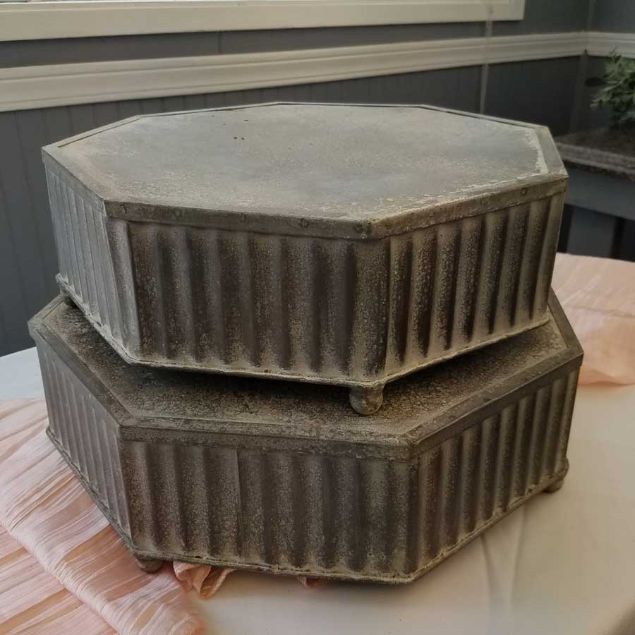 Rustic Metal Hexagon Cake Stands
